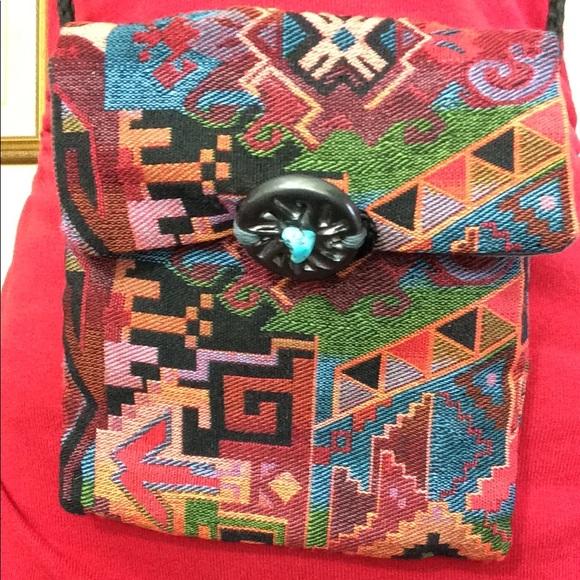 Vintage Handbags - Tribal Rainbow Carpet Bag Turquoise Stone Bag